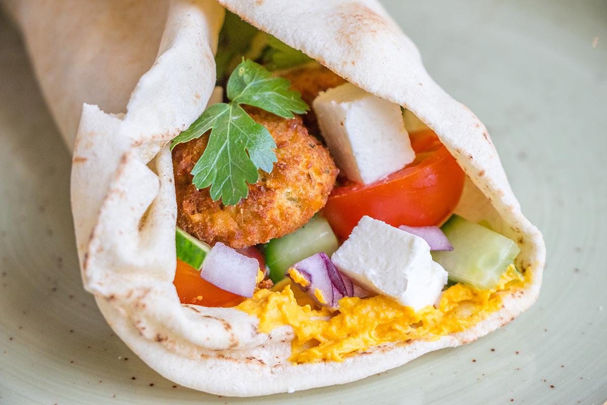 Flatbread met falafel